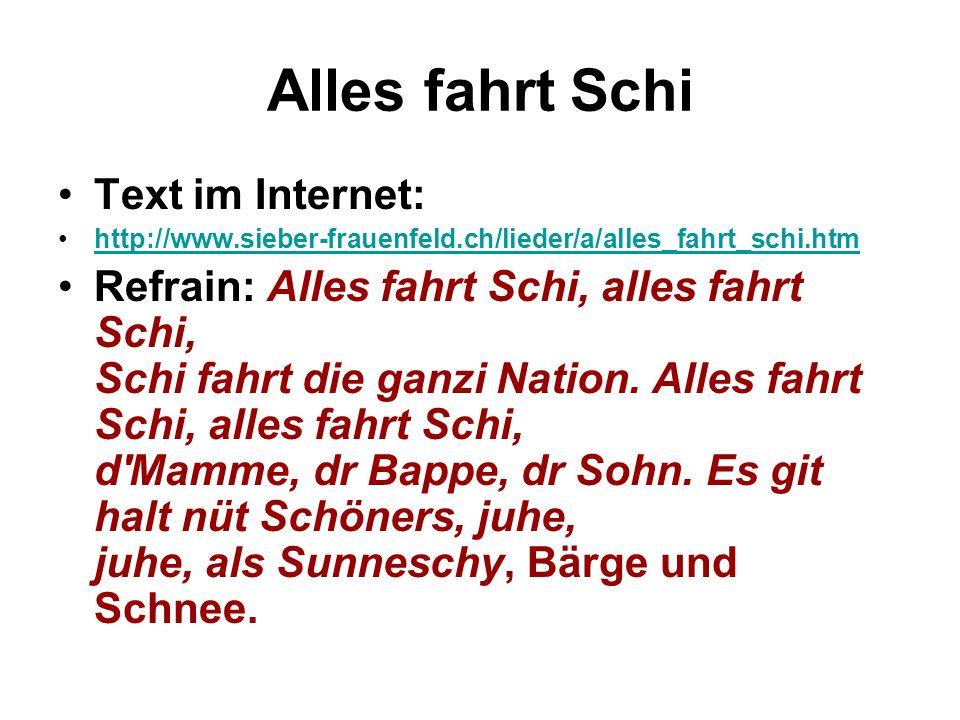 Alles fahrt Schi Text im Internet: