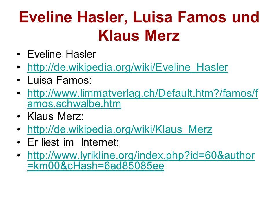Eveline Hasler, Luisa Famos und Klaus Merz