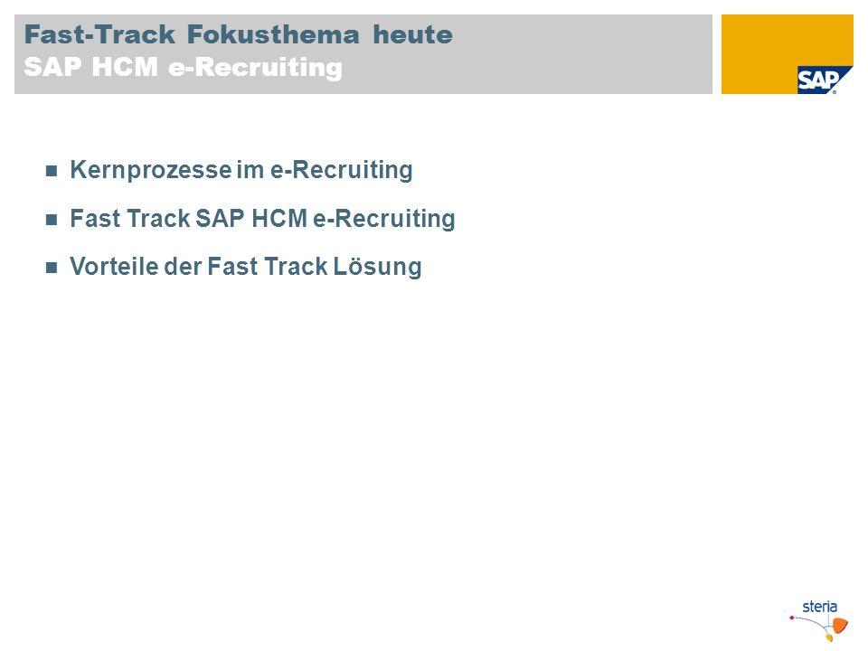 Fast-Track Fokusthema heute SAP HCM e-Recruiting