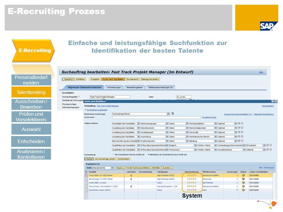 E-Recruiting Prozess E-Recruiting. Einfache und leistungsfähige Suchfunktion zur Identifikation der besten Talente.