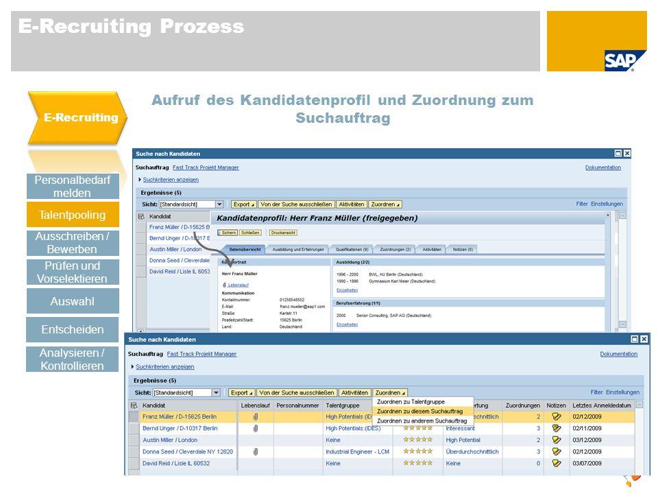 E-Recruiting Prozess E-Recruiting. Aufruf des Kandidatenprofil und Zuordnung zum Suchauftrag. Personalbedarf melden.
