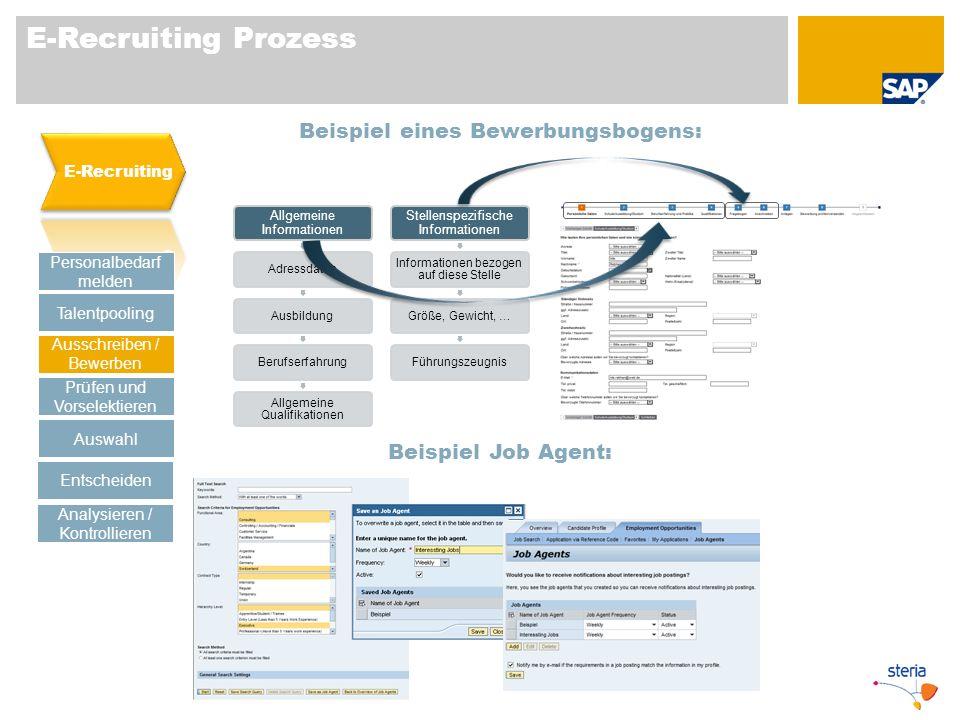 E-Recruiting Prozess Beispiel eines Bewerbungsbogens: