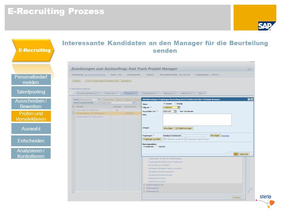 E-Recruiting Prozess E-Recruiting. Interessante Kandidaten an den Manager für die Beurteilung senden.