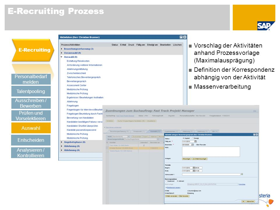 E-Recruiting Prozess E-Recruiting. Vorschlag der Aktivitäten anhand Prozessvorlage (Maximalausprägung)