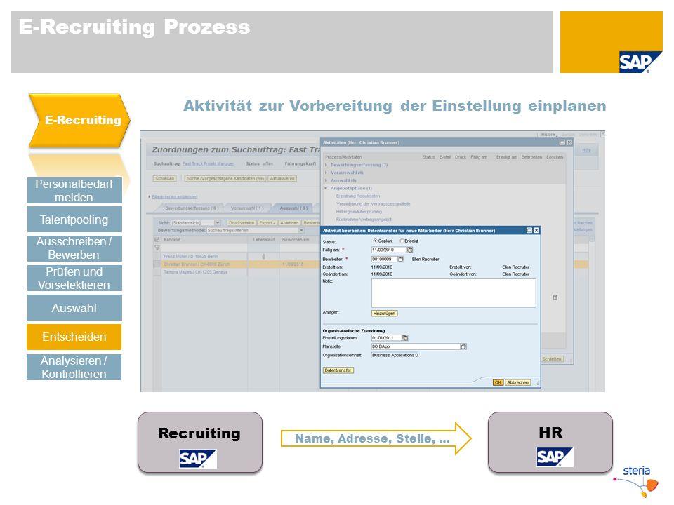 E-Recruiting Prozess E-Recruiting. Aktivität zur Vorbereitung der Einstellung einplanen. Personalbedarf melden.