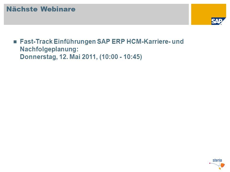 Nächste Webinare Fast-Track Einführungen SAP ERP HCM-Karriere- und Nachfolgeplanung: Donnerstag, 12.