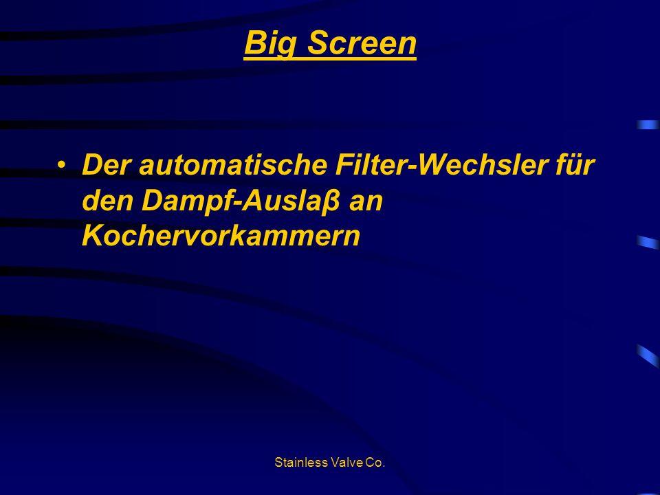 Big ScreenDer automatische Filter-Wechsler für den Dampf-Auslaβ an Kochervorkammern.