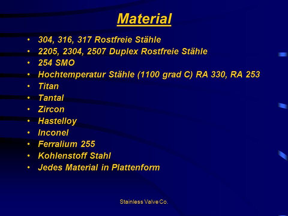 Material 304, 316, 317 Rostfreie Stähle