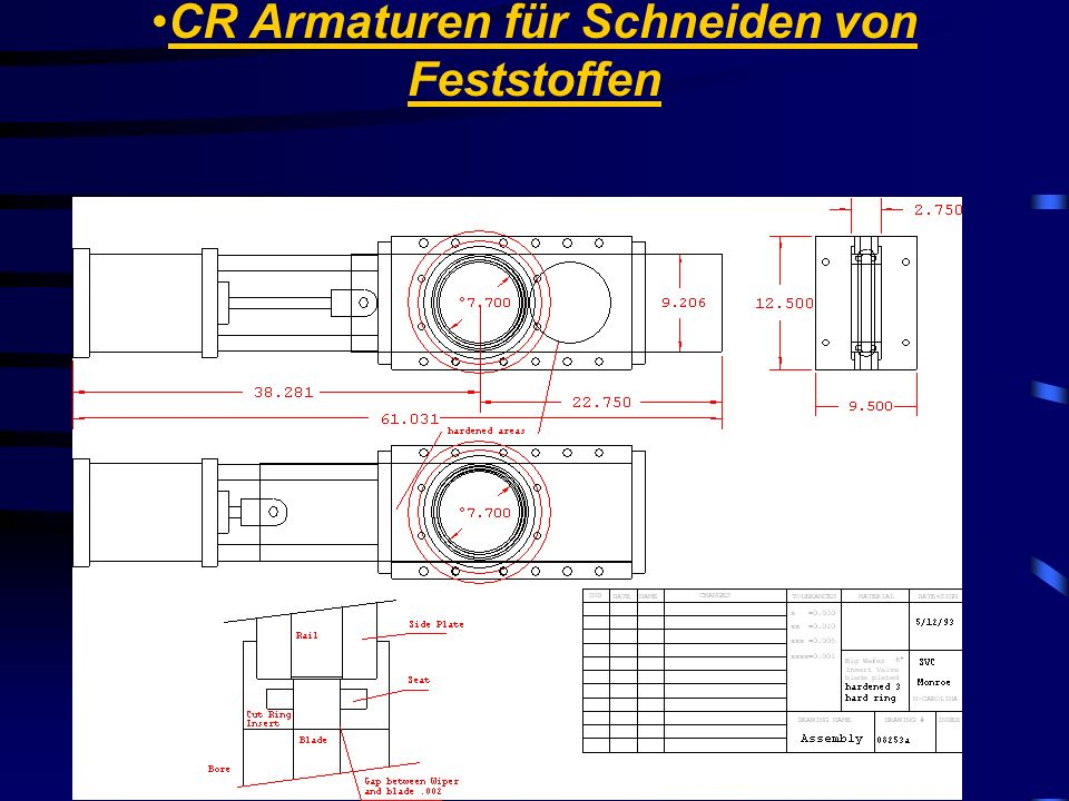 CR Armaturen für Schneiden von Feststoffen