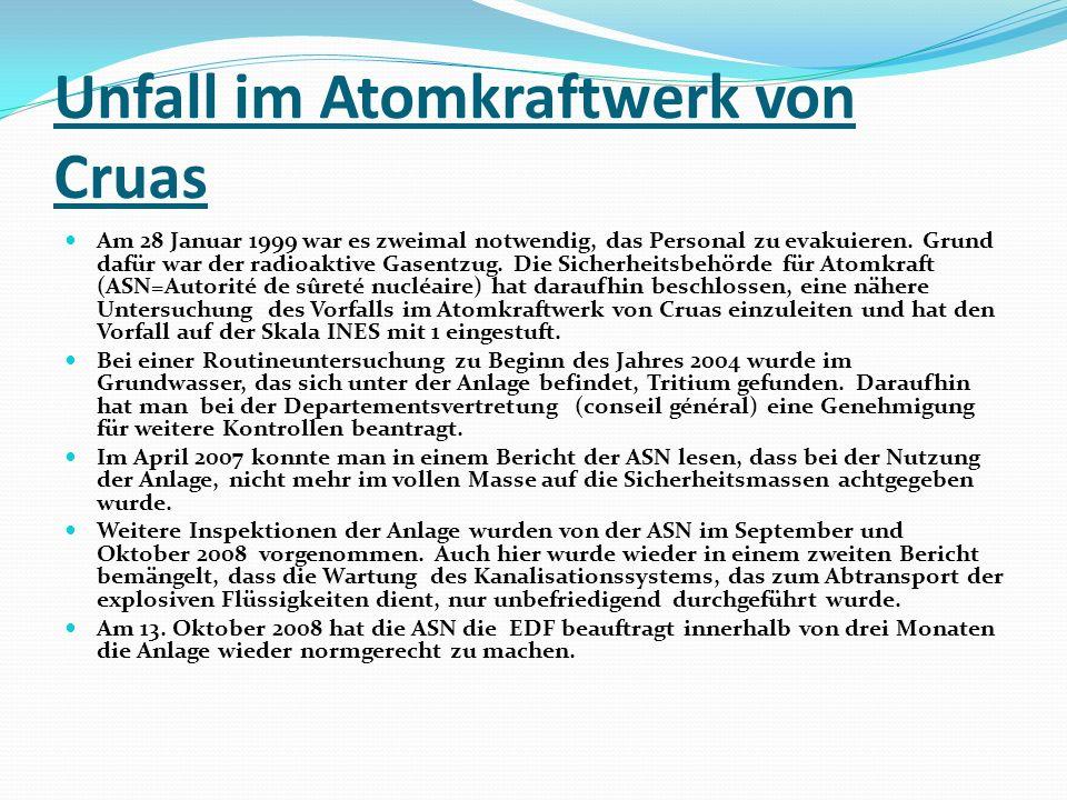 Unfall im Atomkraftwerk von Cruas