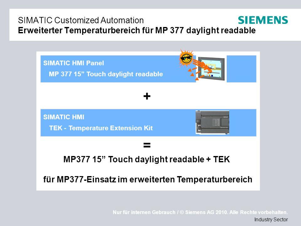 SIMATIC Customized Automation Erweiterter Temperaturbereich für MP 377 daylight readable