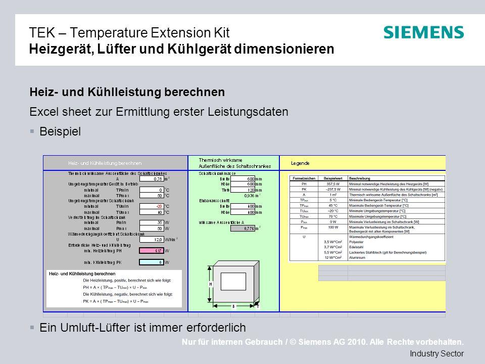 TEK – Temperature Extension Kit Heizgerät, Lüfter und Kühlgerät dimensionieren