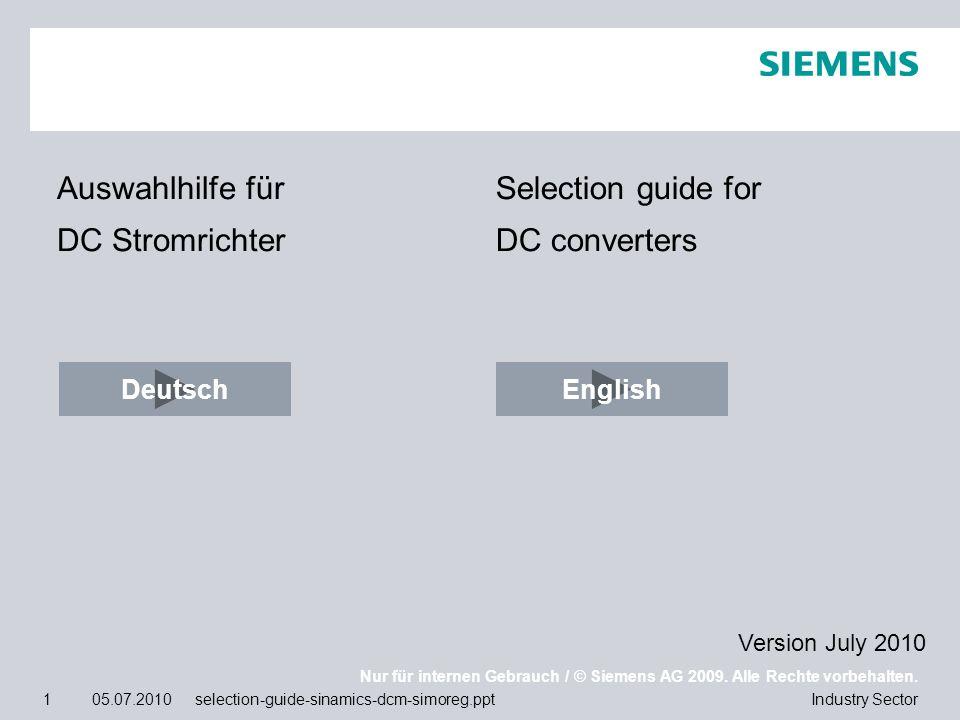 Auswahlhilfe für DC Stromrichter Selection guide for DC converters