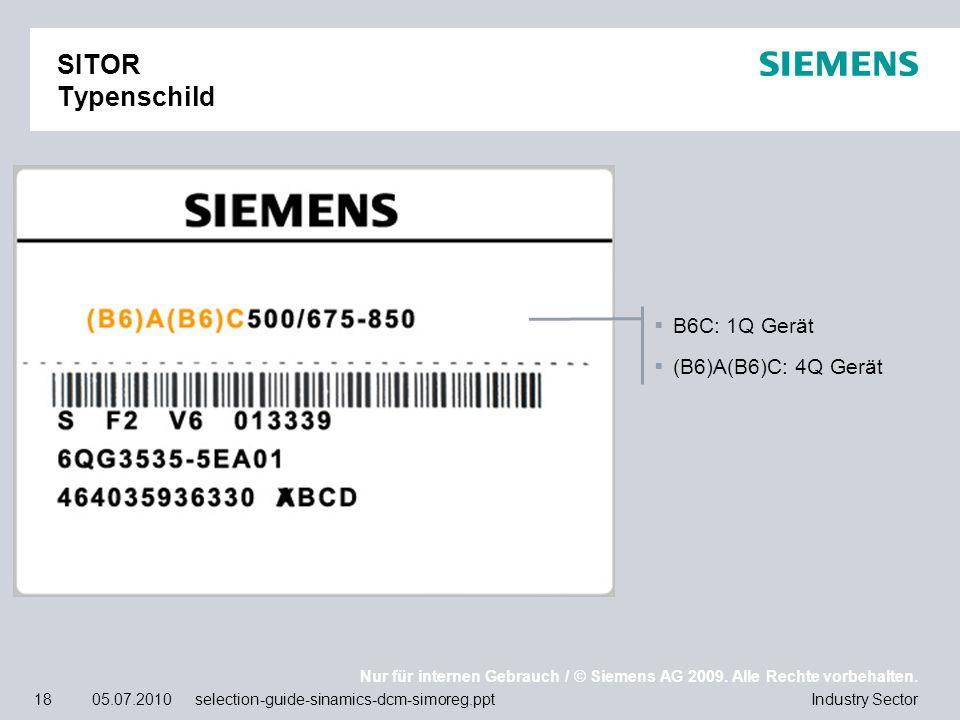 SITOR Typenschild B6C: 1Q Gerät (B6)A(B6)C: 4Q Gerät