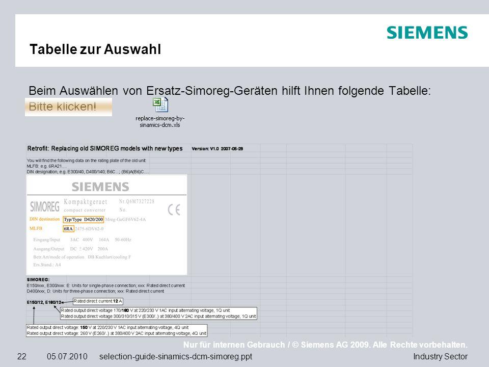 Tabelle zur Auswahl Beim Auswählen von Ersatz-Simoreg-Geräten hilft Ihnen folgende Tabelle: Bitte klicken!