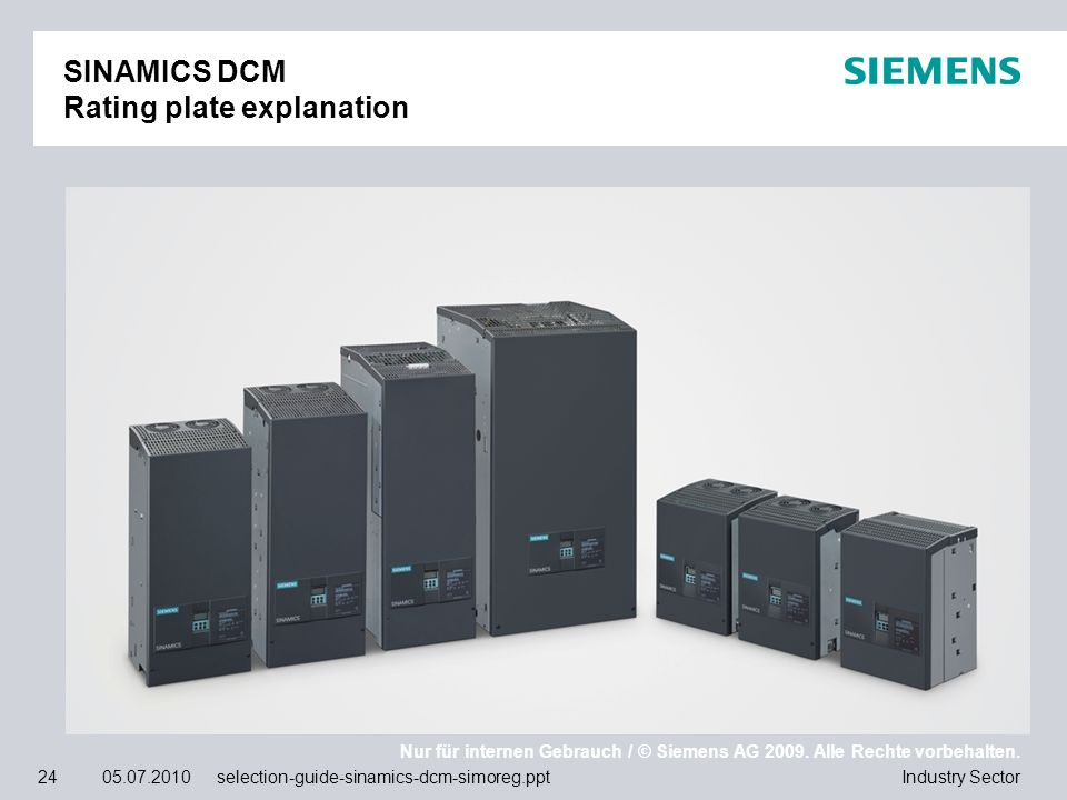 SINAMICS DCM Rating plate explanation