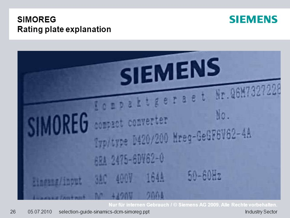 SIMOREG Rating plate explanation