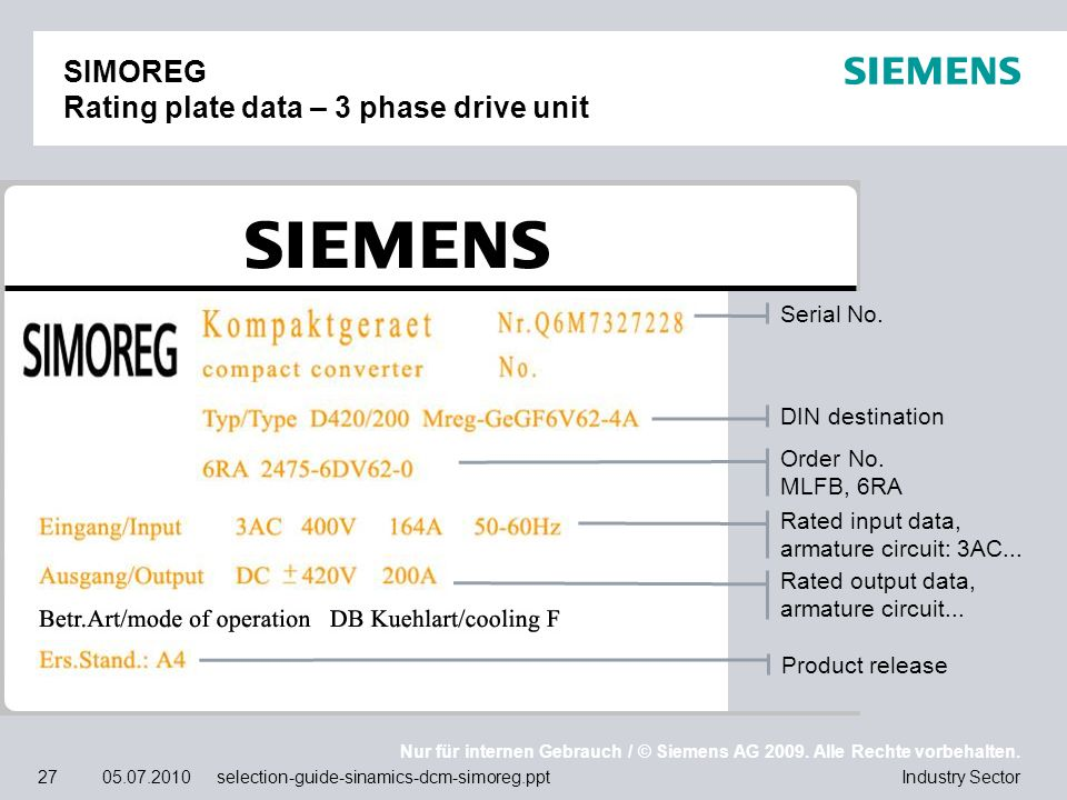 SIMOREG Rating plate data – 3 phase drive unit