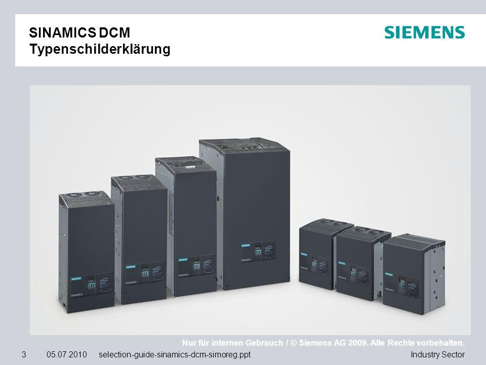 SINAMICS DCM Typenschilderklärung