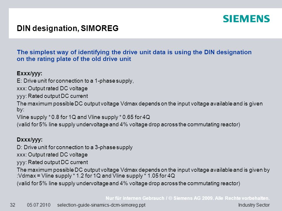 DIN designation, SIMOREG