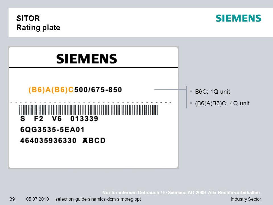 SITOR Rating plate B6C: 1Q unit (B6)A(B6)C: 4Q unit