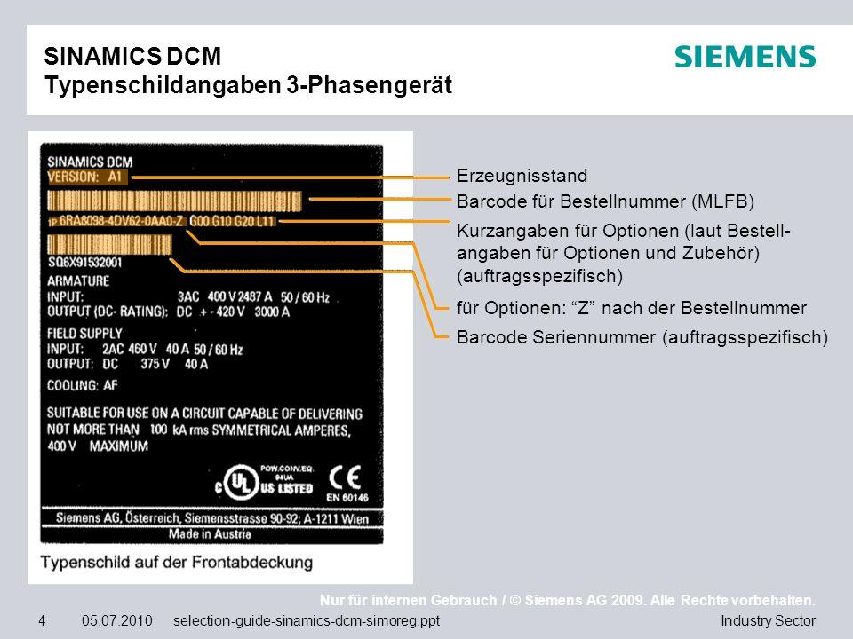 SINAMICS DCM Typenschildangaben 3-Phasengerät