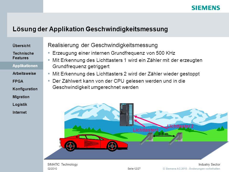 Lösung der Applikation Geschwindigkeitsmessung