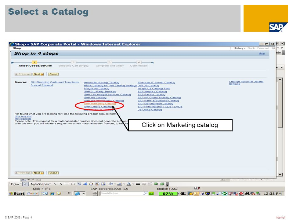 Click on Marketing catalog