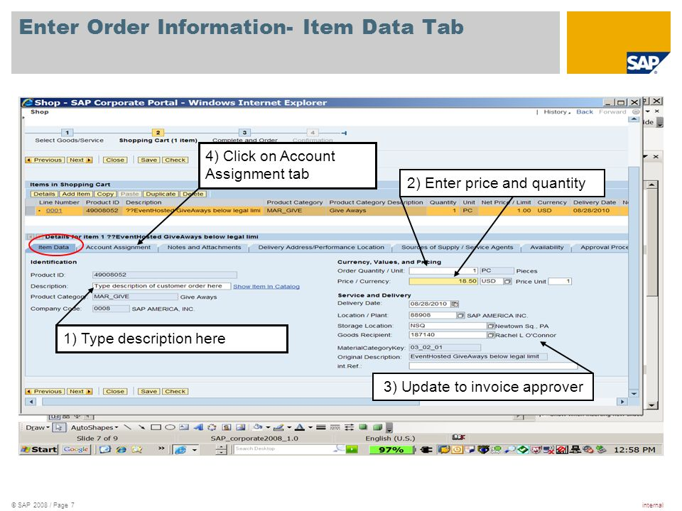 Enter Order Information- Item Data Tab