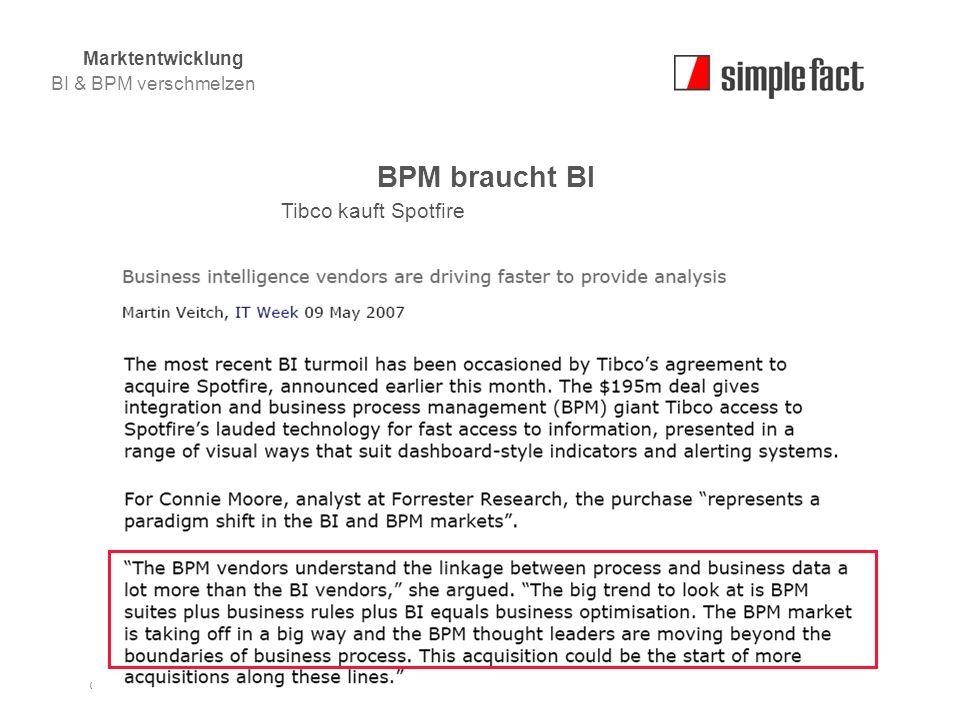 BPM braucht BI Tibco kauft Spotfire Marktentwicklung