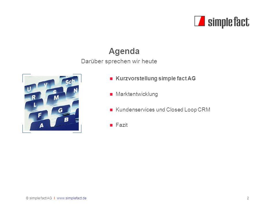Agenda Darüber sprechen wir heute Kurzvorstellung simple fact AG