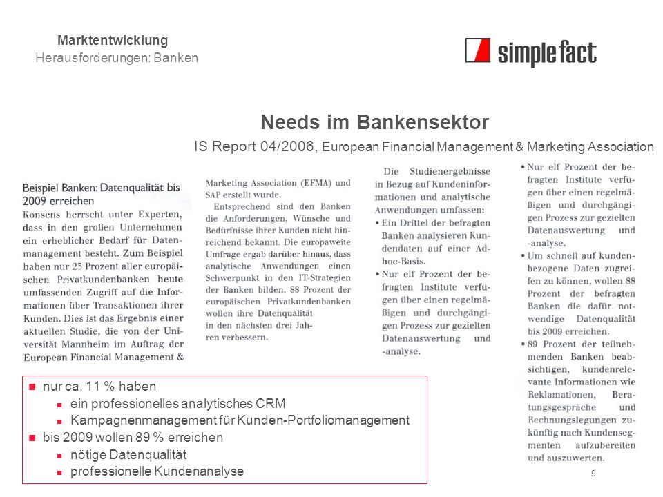 Marktentwicklung Herausforderungen: Banken. Needs im Bankensektor. IS Report 04/2006, European Financial Management & Marketing Association.