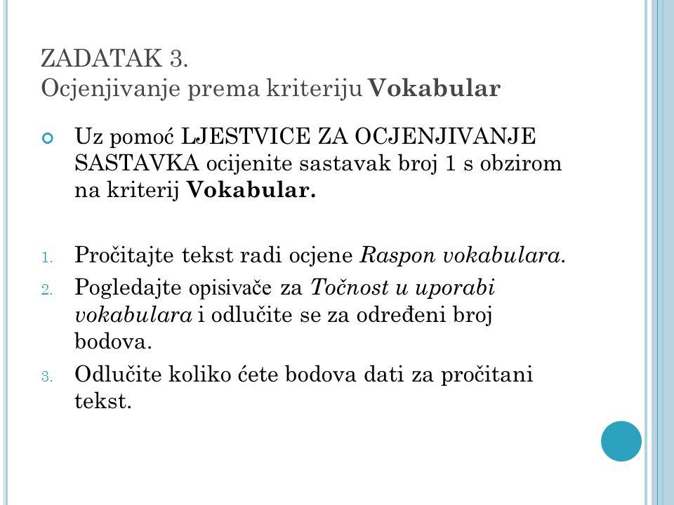 ZADATAK 3. Ocjenjivanje prema kriteriju Vokabular