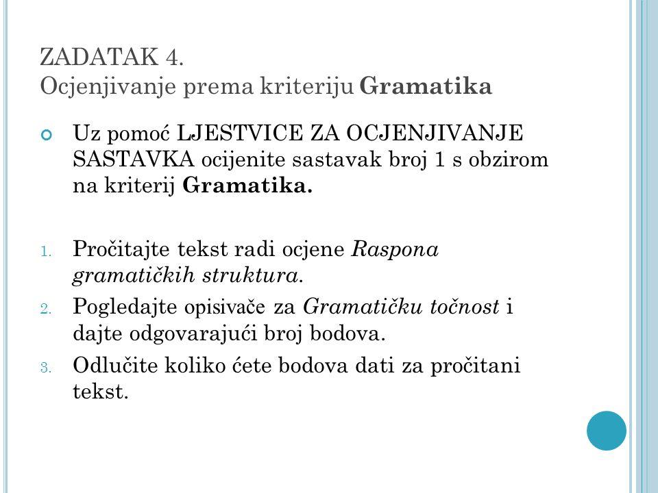 ZADATAK 4. Ocjenjivanje prema kriteriju Gramatika