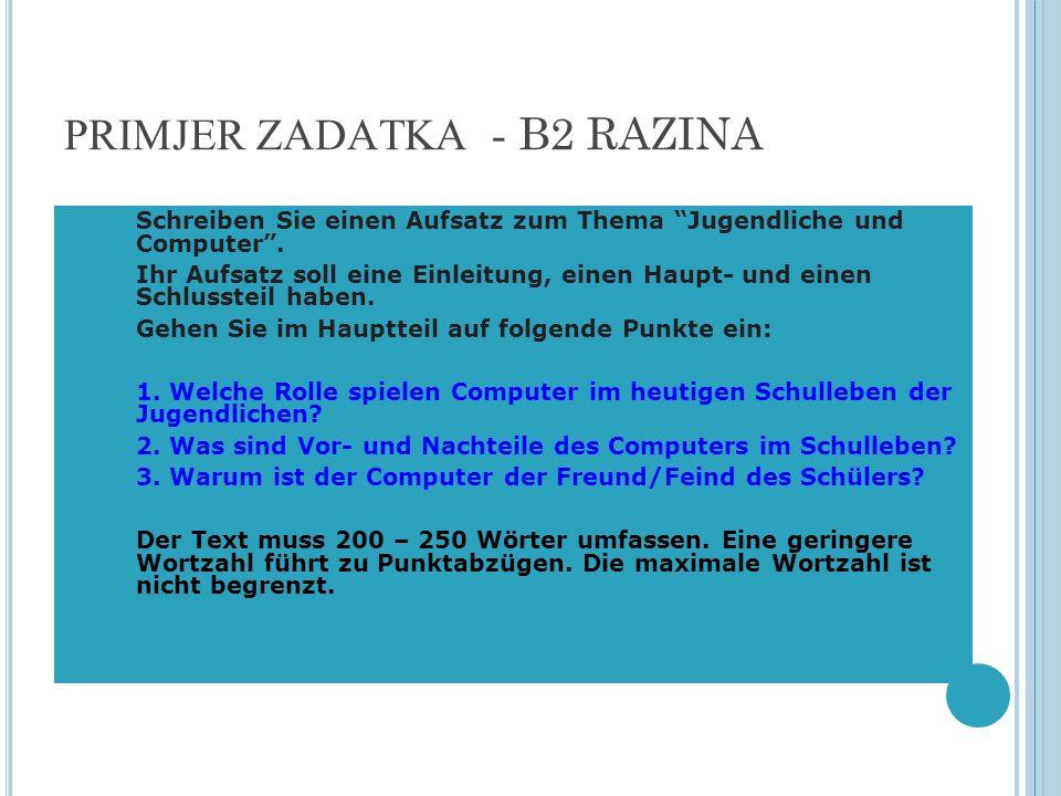 PRIMJER ZADATKA - B2 RAZINA
