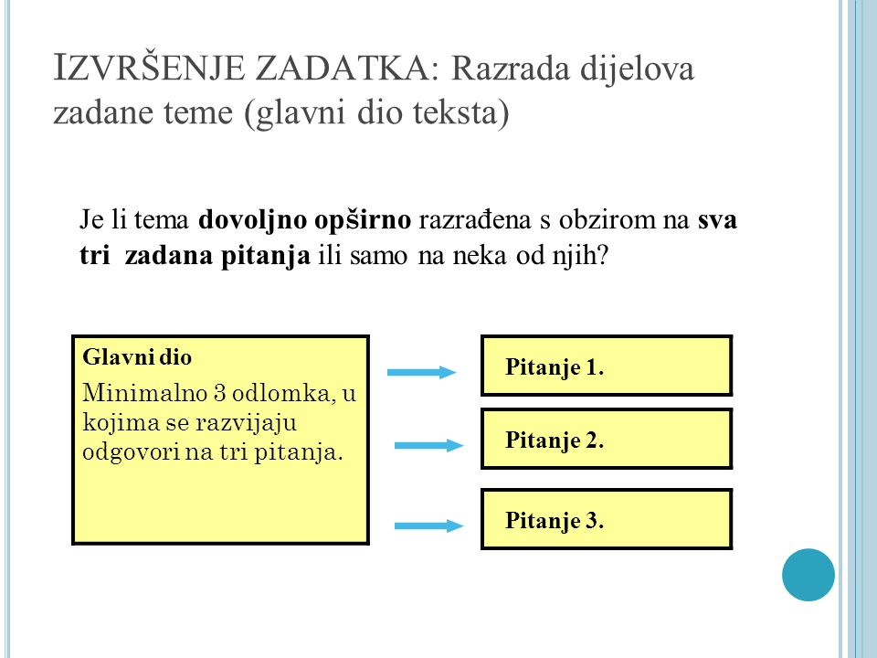 IZVRŠENJE ZADATKA: Razrada dijelova zadane teme (glavni dio teksta)