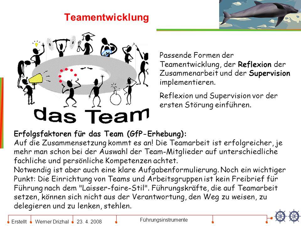 Teamentwicklung Passende Formen der Teamentwicklung, der Reflexion der Zusammenarbeit und der Supervision implementieren.
