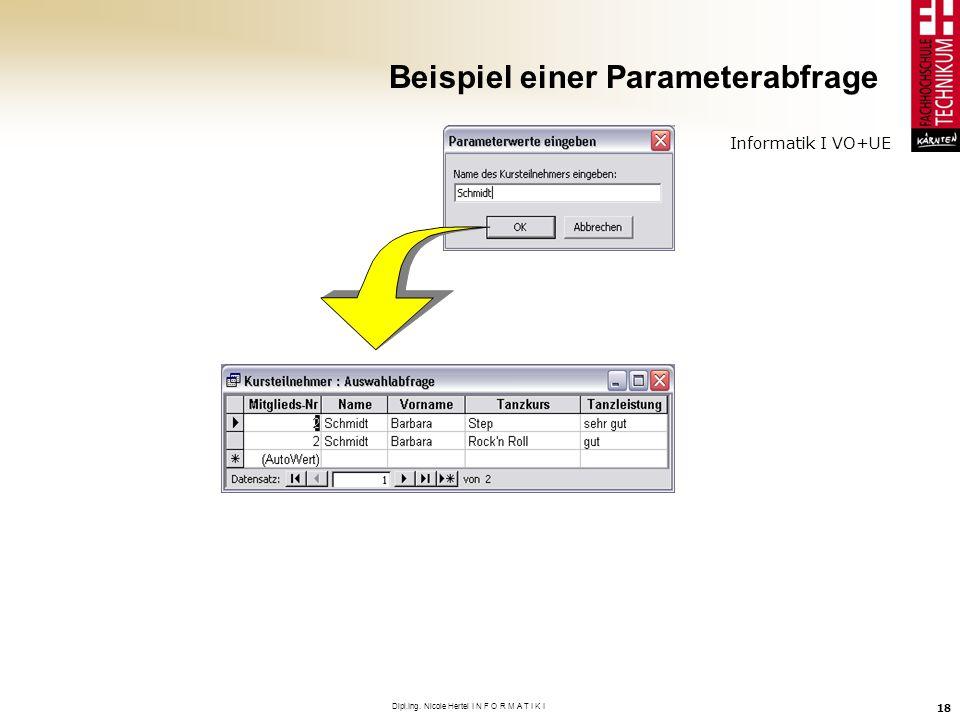 Beispiel einer Parameterabfrage