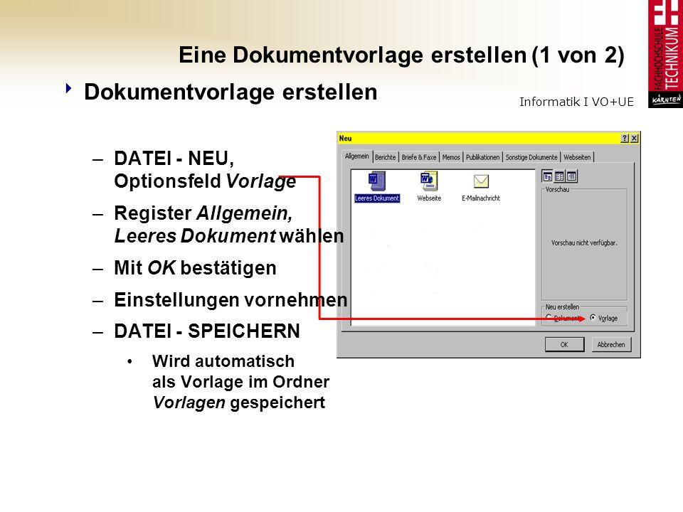 Eine Dokumentvorlage erstellen (1 von 2)