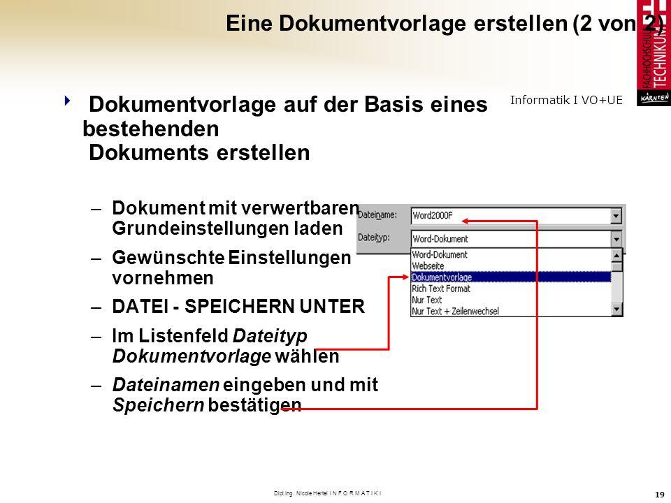 Eine Dokumentvorlage erstellen (2 von 2)
