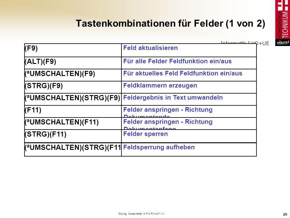 Tastenkombinationen für Felder (1 von 2)