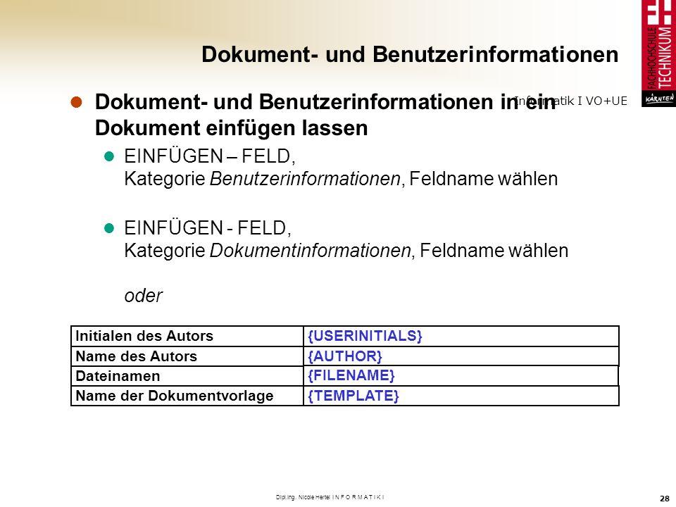 Dokument- und Benutzerinformationen