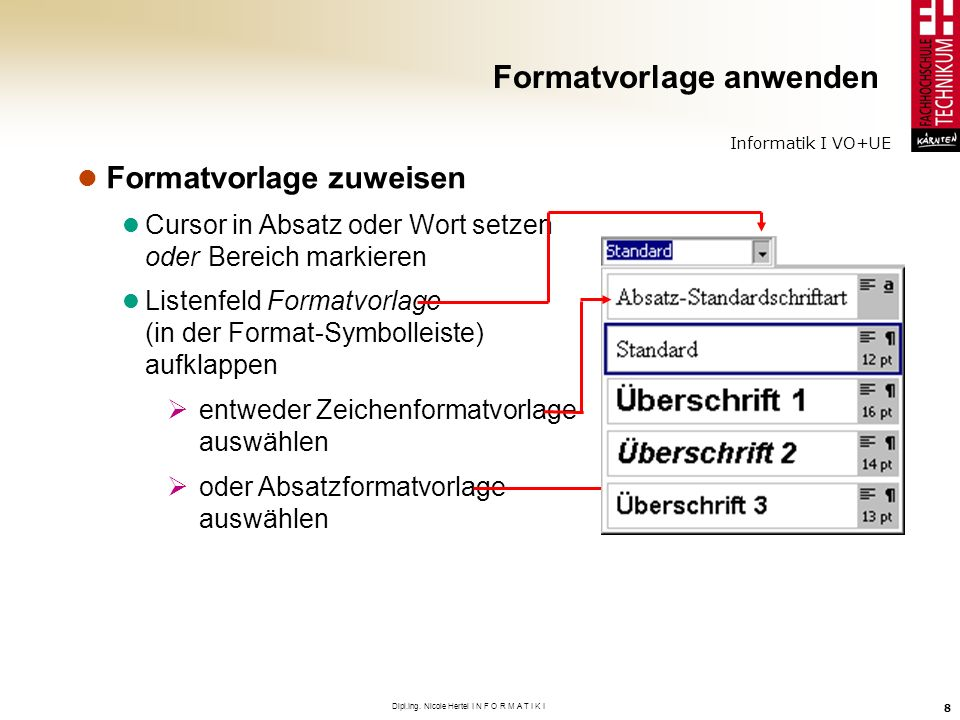 Formatvorlage anwenden