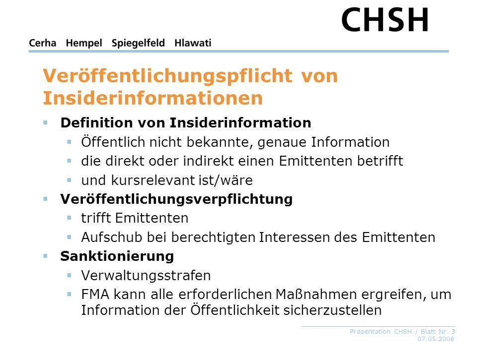 Veröffentlichungspflicht von Insiderinformationen