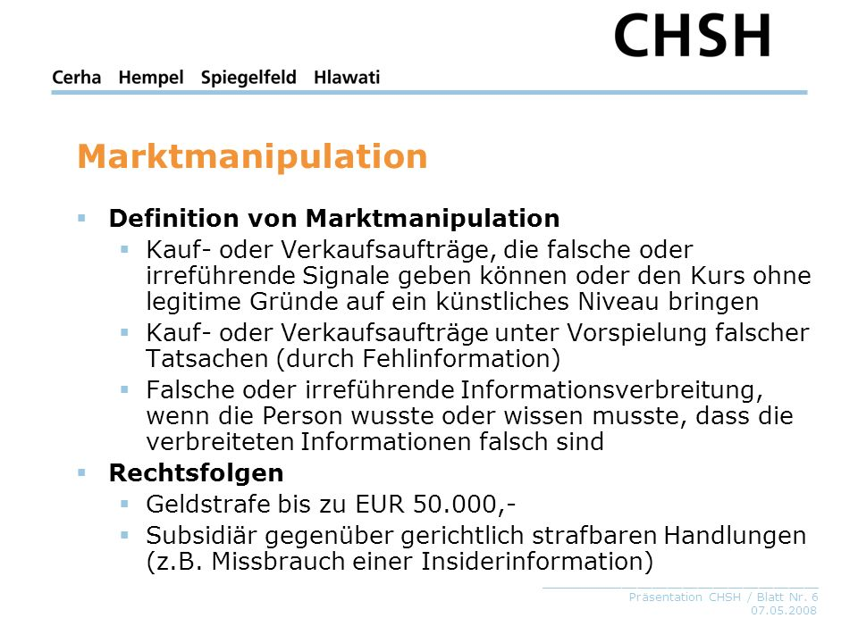 Marktmanipulation Definition von Marktmanipulation