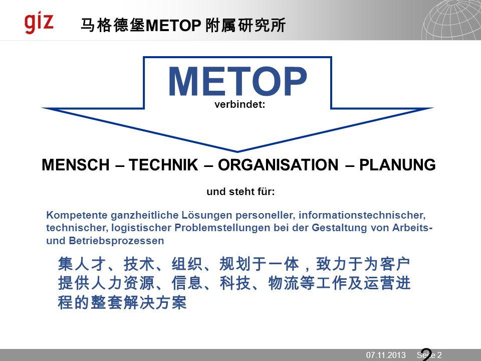 METOP 马格德堡METOP 附属研究所 MENSCH – TECHNIK – ORGANISATION – PLANUNG