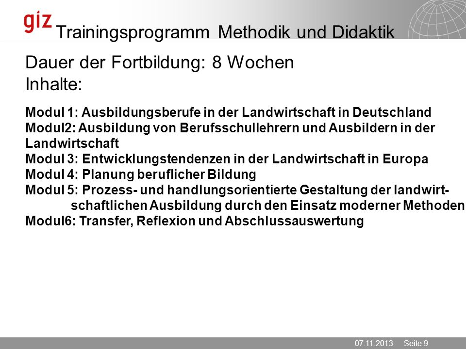 Trainingsprogramm Methodik und Didaktik