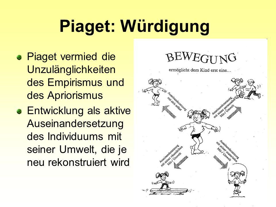 Piaget: Würdigung Piaget vermied die Unzulänglichkeiten des Empirismus und des Apriorismus.