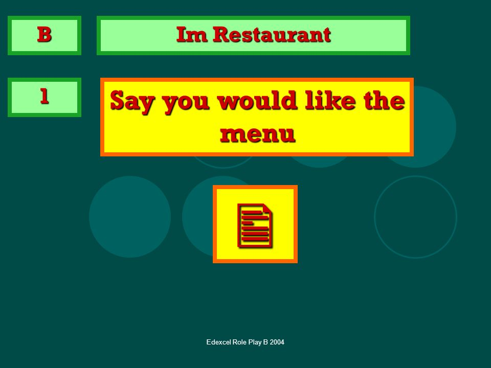 Say you would like the menu