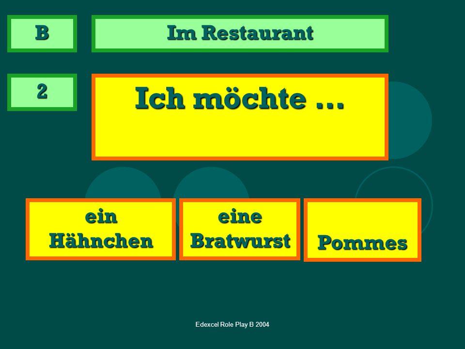 Ich möchte … B Im Restaurant 2 ein Hähnchen eine Bratwurst Pommes